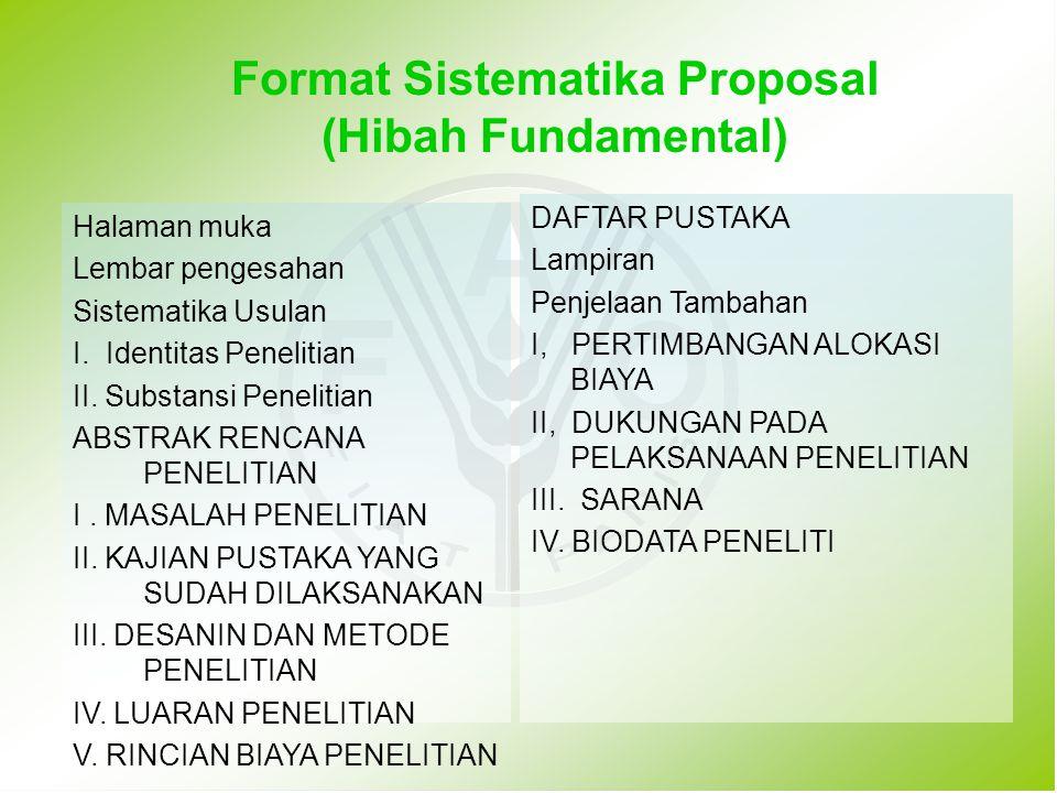 Format Sistematika Proposal (Hibah Fundamental)