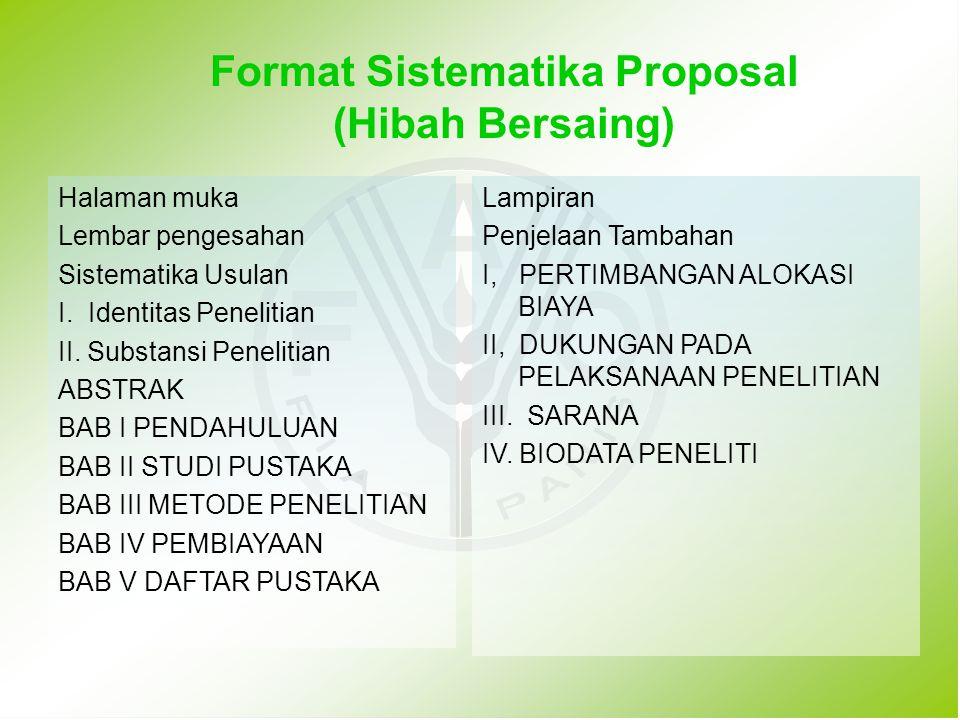 Format Sistematika Proposal (Hibah Bersaing)