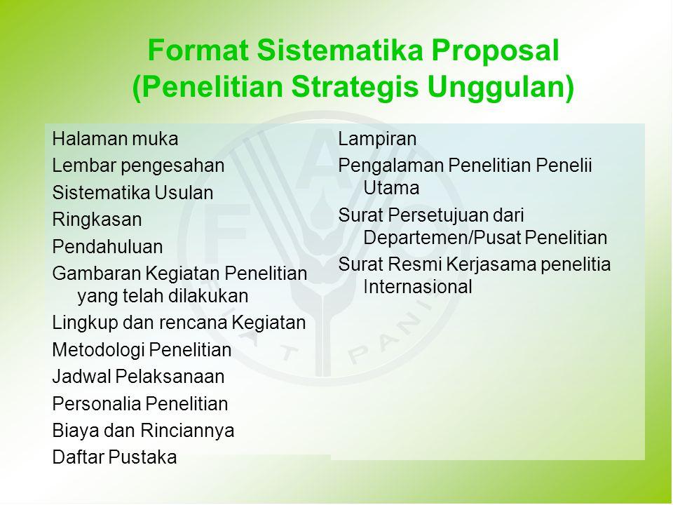 Format Sistematika Proposal (Penelitian Strategis Unggulan)