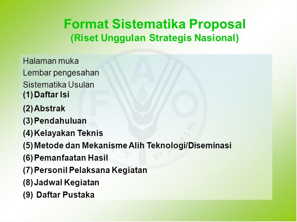 Format Sistematika Proposal (Riset Unggulan Strategis Nasional)