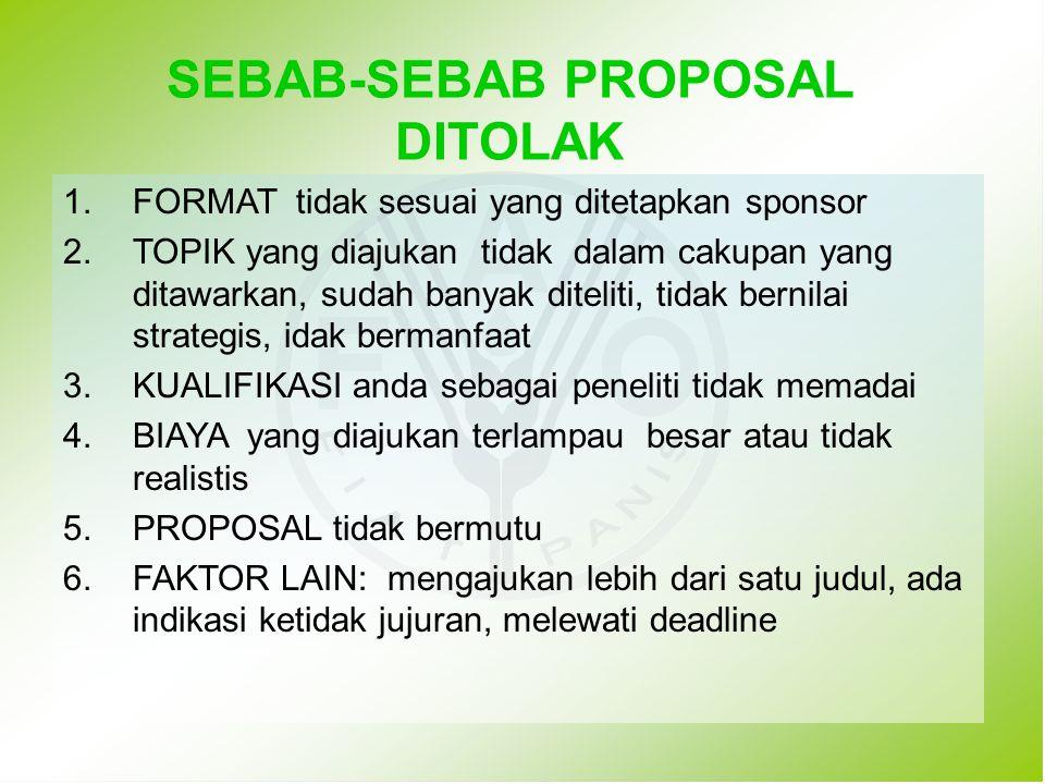SEBAB-SEBAB PROPOSAL DITOLAK