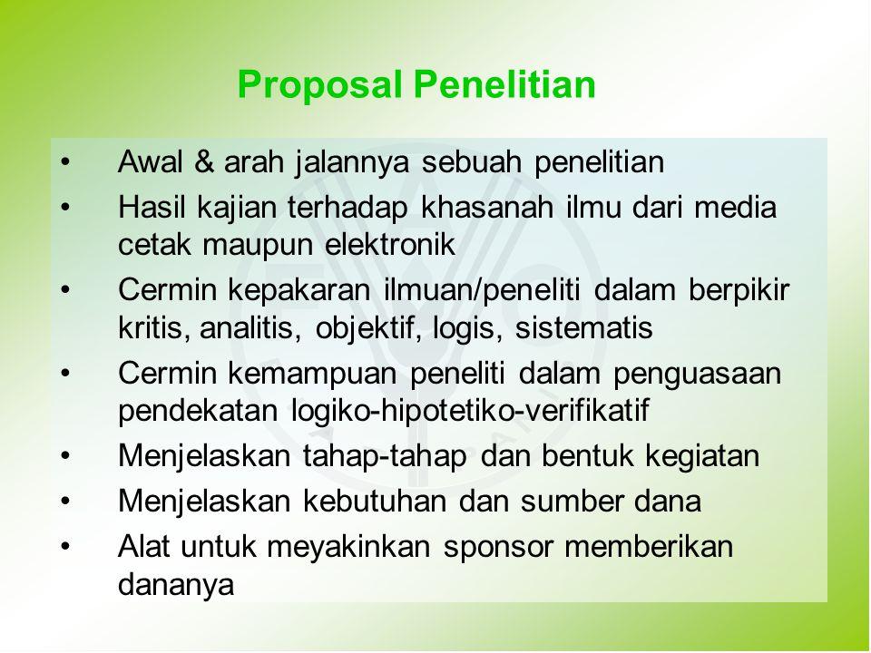 Proposal Penelitian Awal & arah jalannya sebuah penelitian