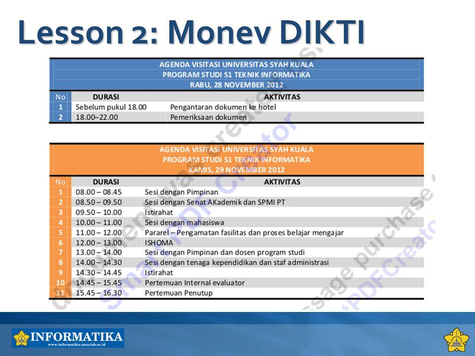 Lesson 2: Monev DIKTI 4/6/2017 1:35 AM
