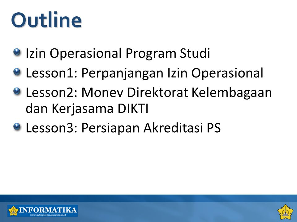 Outline Izin Operasional Program Studi
