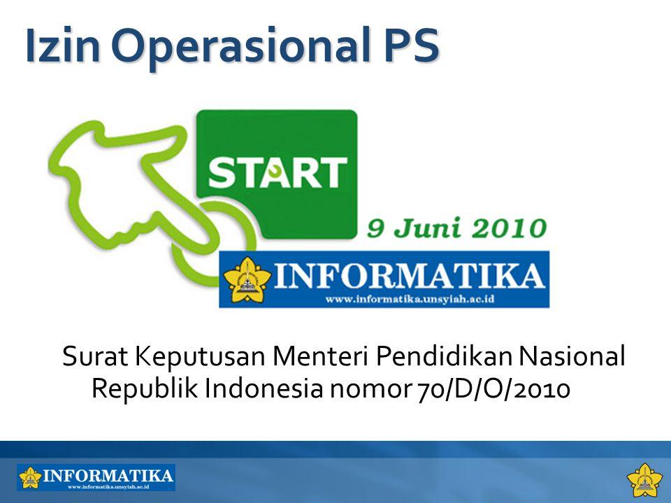 4/6/2017 1:35 AM Izin Operasional PS. Surat Keputusan Menteri Pendidikan Nasional Republik Indonesia nomor 70/D/O/2010.