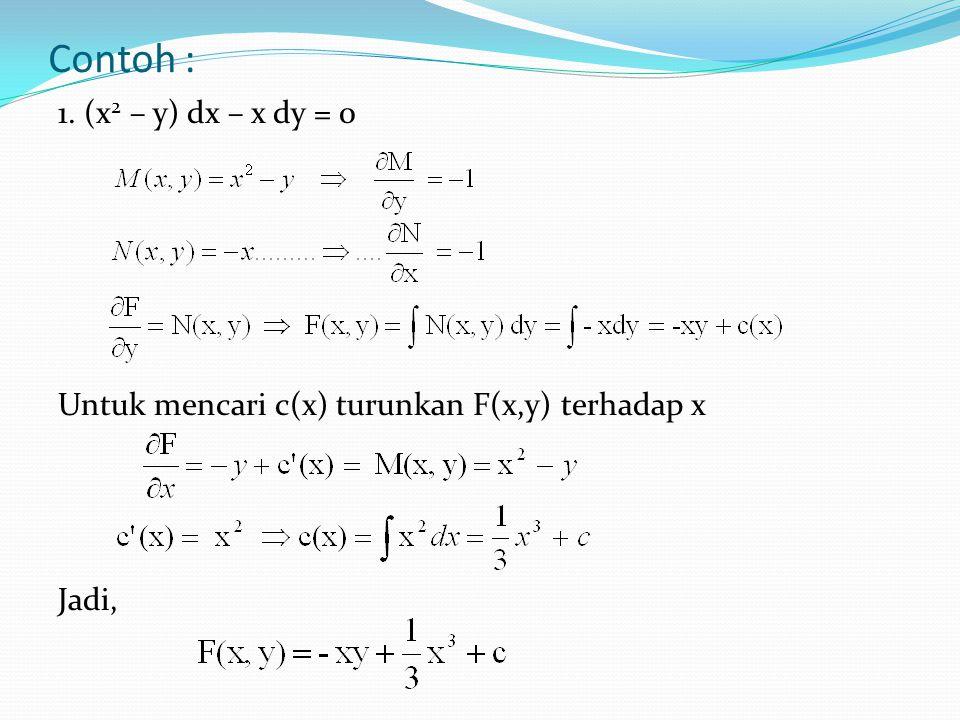 Contoh : 1. (x2 – y) dx – x dy = 0 Untuk mencari c(x) turunkan F(x,y) terhadap x Jadi,