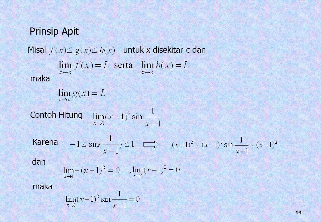 Prinsip Apit Misal untuk x disekitar c dan maka Contoh Hitung Karena