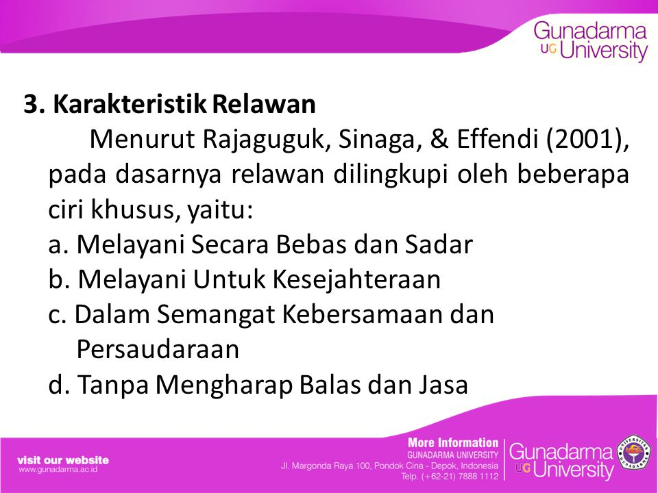 3. Karakteristik Relawan