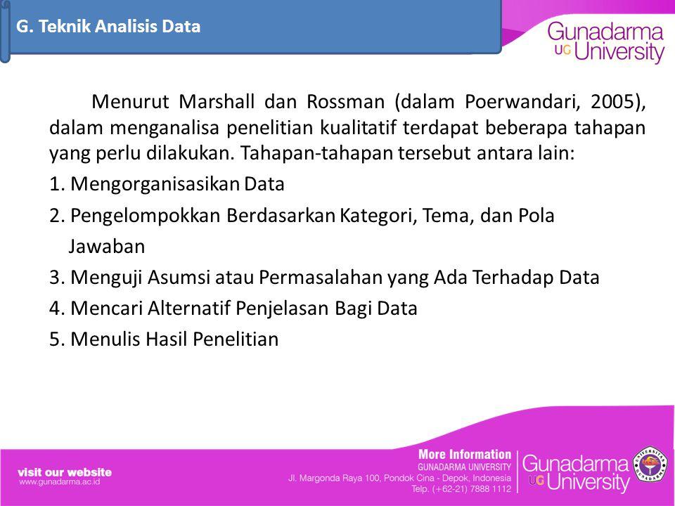 G. Teknik Analisis Data