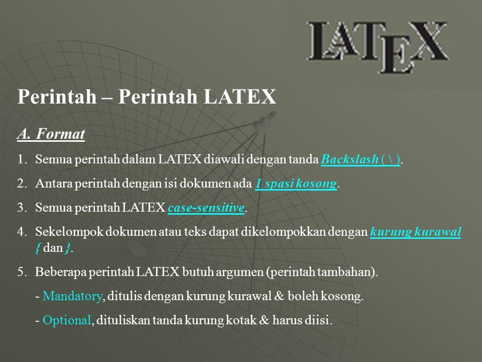 Perintah – Perintah LATEX