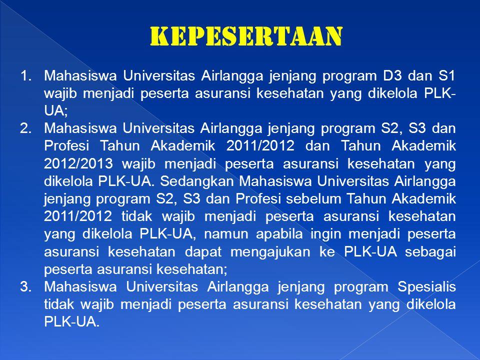 KEPESERTAAN Mahasiswa Universitas Airlangga jenjang program D3 dan S1 wajib menjadi peserta asuransi kesehatan yang dikelola PLK-UA;