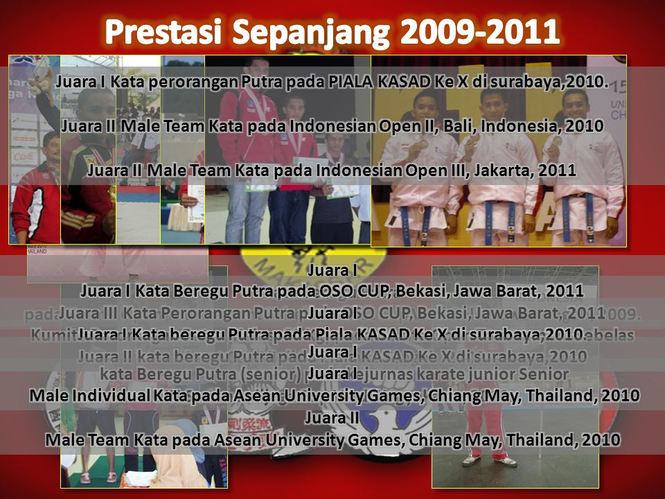 Prestasi Sepanjang 2009-2011 Juara I Kata perorangan Putra pada PIALA KASAD Ke X di surabaya,2010.