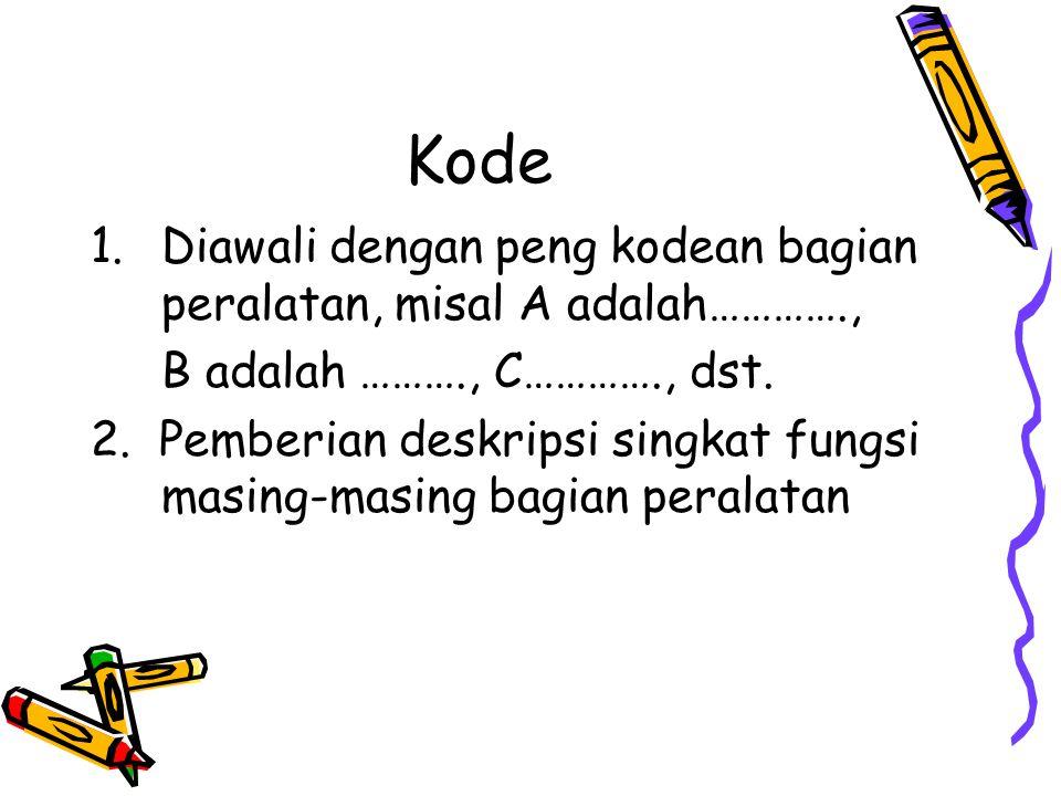 Kode Diawali dengan peng kodean bagian peralatan, misal A adalah………….,