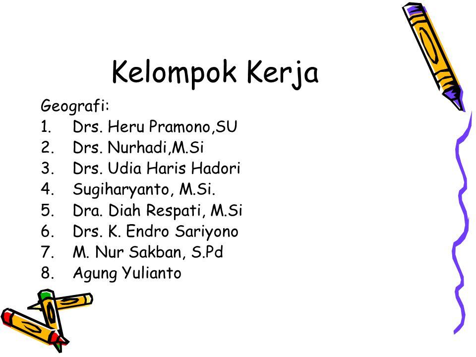 Kelompok Kerja Geografi: Drs. Heru Pramono,SU Drs. Nurhadi,M.Si