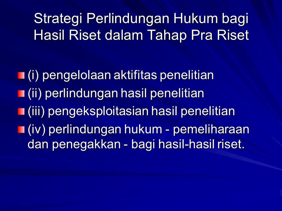 Strategi Perlindungan Hukum bagi Hasil Riset dalam Tahap Pra Riset