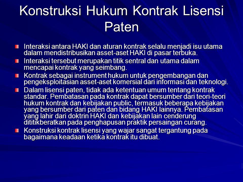 Konstruksi Hukum Kontrak Lisensi Paten