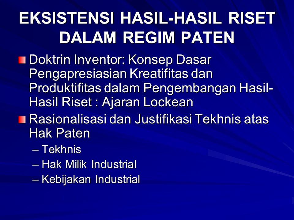 EKSISTENSI HASIL-HASIL RISET DALAM REGIM PATEN
