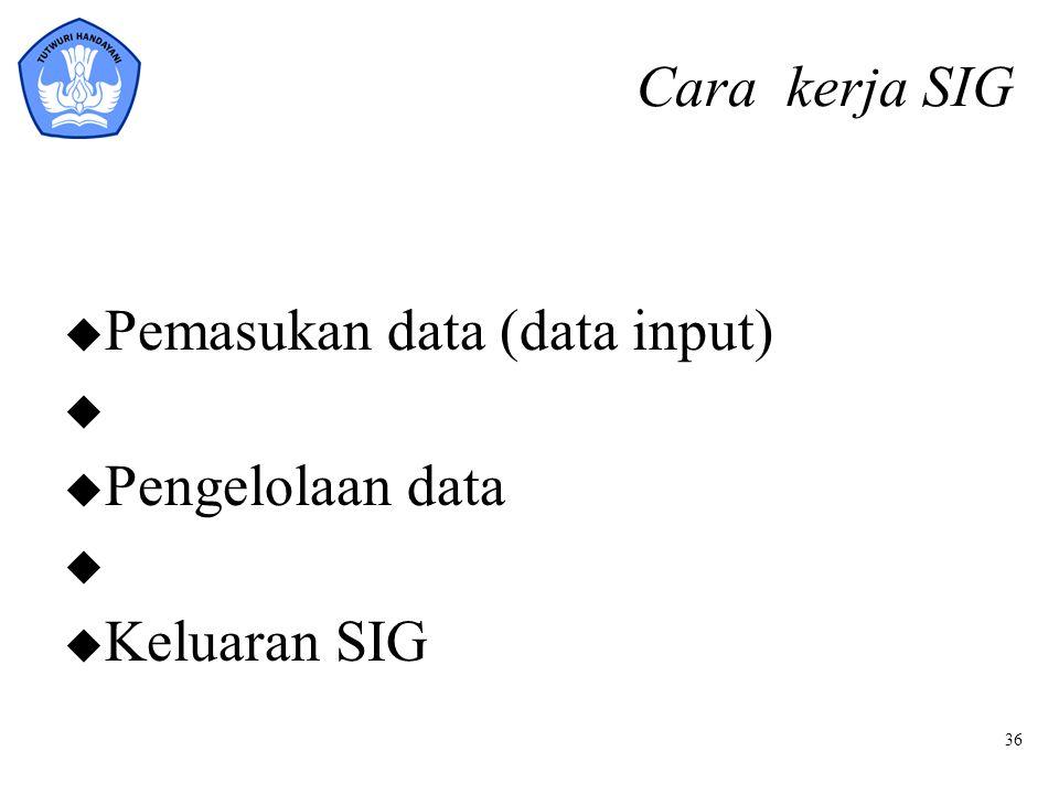 Cara kerja SIG Pemasukan data (data input) Pengelolaan data Keluaran SIG