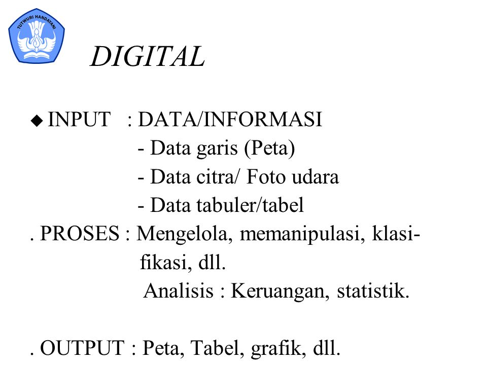 DIGITAL INPUT : DATA/INFORMASI - Data garis (Peta)