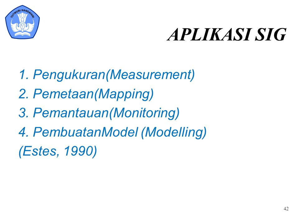 APLIKASI SIG 1. Pengukuran(Measurement) 2. Pemetaan(Mapping)