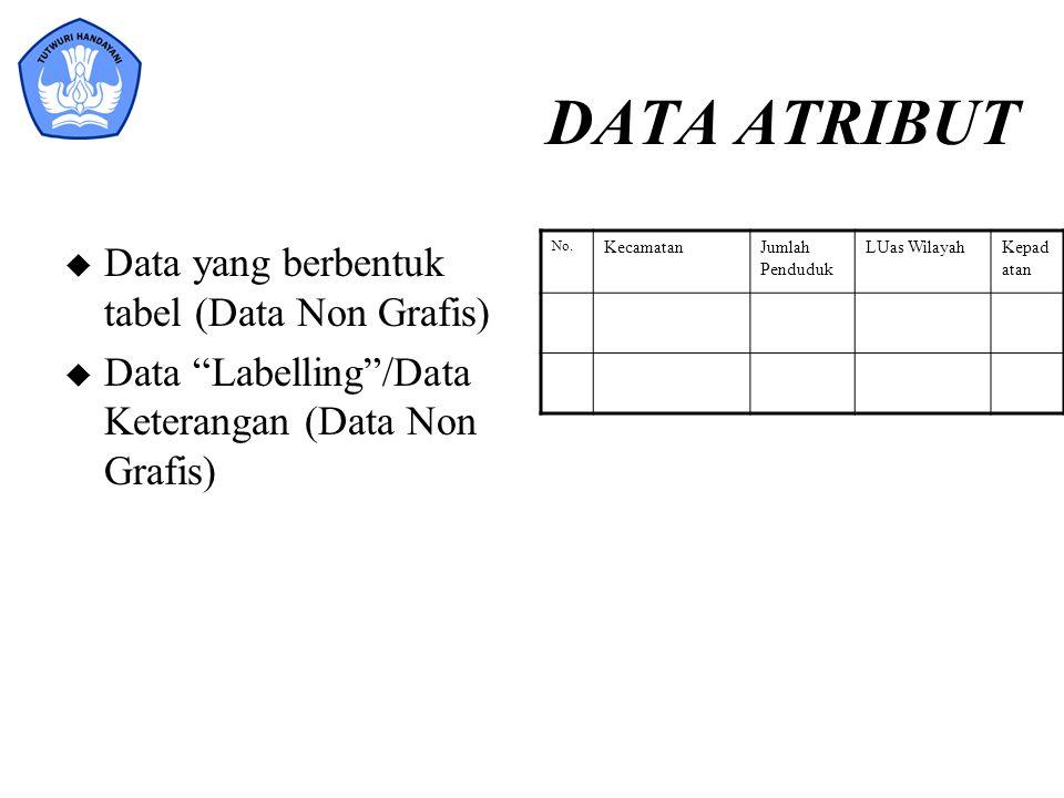 DATA ATRIBUT Data yang berbentuk tabel (Data Non Grafis)