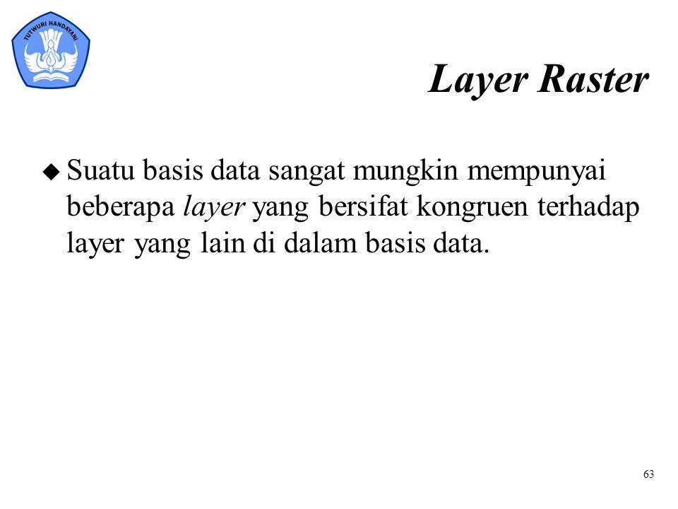 Layer Raster Suatu basis data sangat mungkin mempunyai beberapa layer yang bersifat kongruen terhadap layer yang lain di dalam basis data.