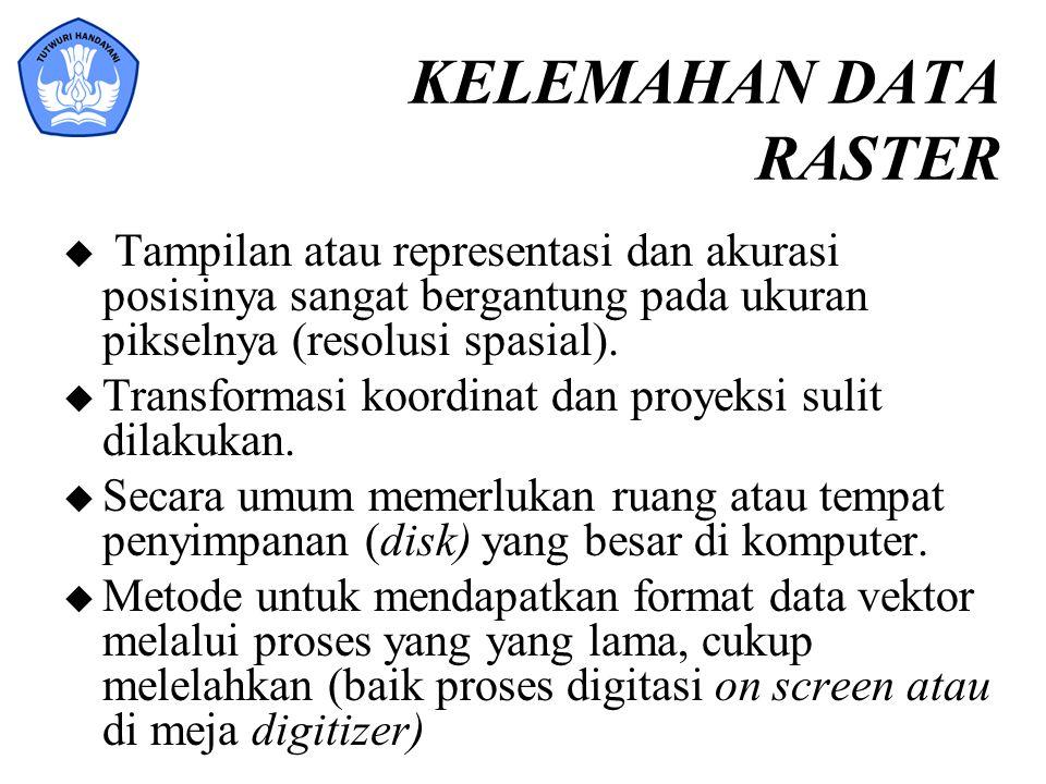 KELEMAHAN DATA RASTER Tampilan atau representasi dan akurasi posisinya sangat bergantung pada ukuran pikselnya (resolusi spasial).