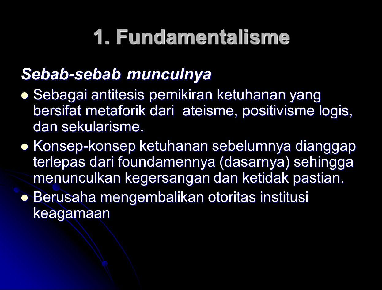 1. Fundamentalisme Sebab-sebab munculnya