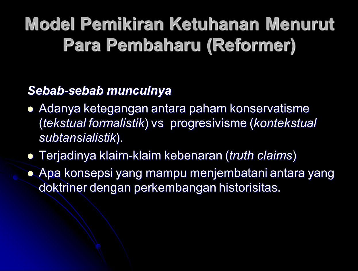 Model Pemikiran Ketuhanan Menurut Para Pembaharu (Reformer)