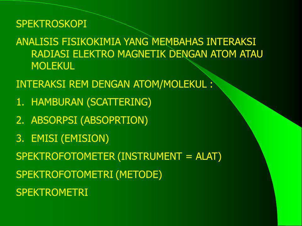 SPEKTROSKOPI ANALISIS FISIKOKIMIA YANG MEMBAHAS INTERAKSI RADIASI ELEKTRO MAGNETIK DENGAN ATOM ATAU MOLEKUL.
