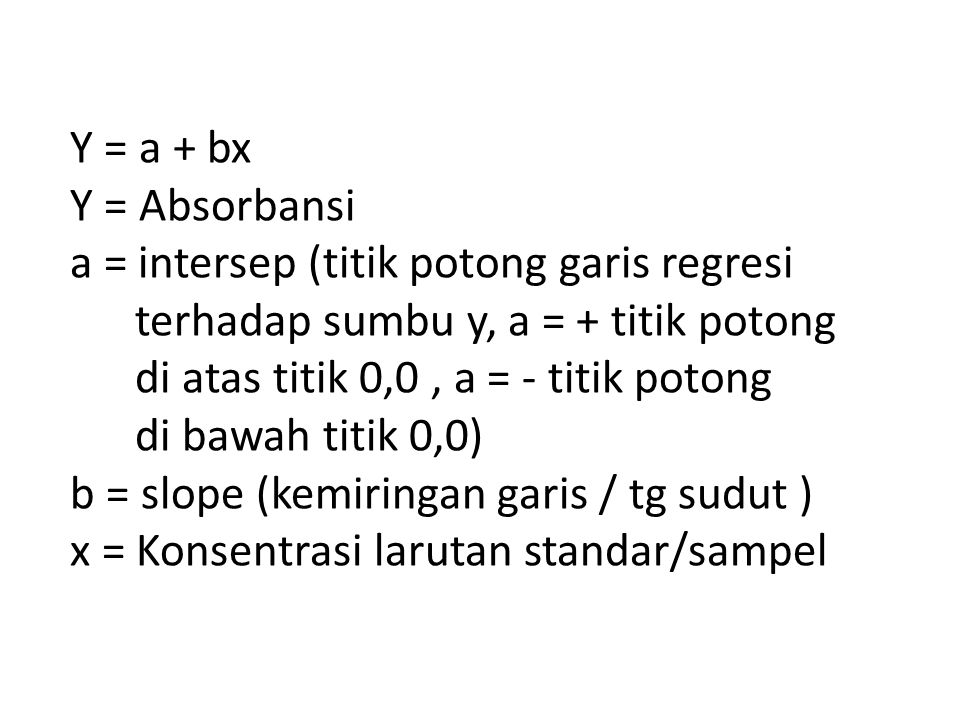 Y = a + bx Y = Absorbansi. a = intersep (titik potong garis regresi. terhadap sumbu y, a = + titik potong.