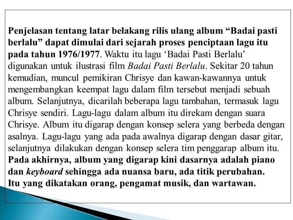 Penjelasan tentang latar belakang rilis ulang album Badai pasti
