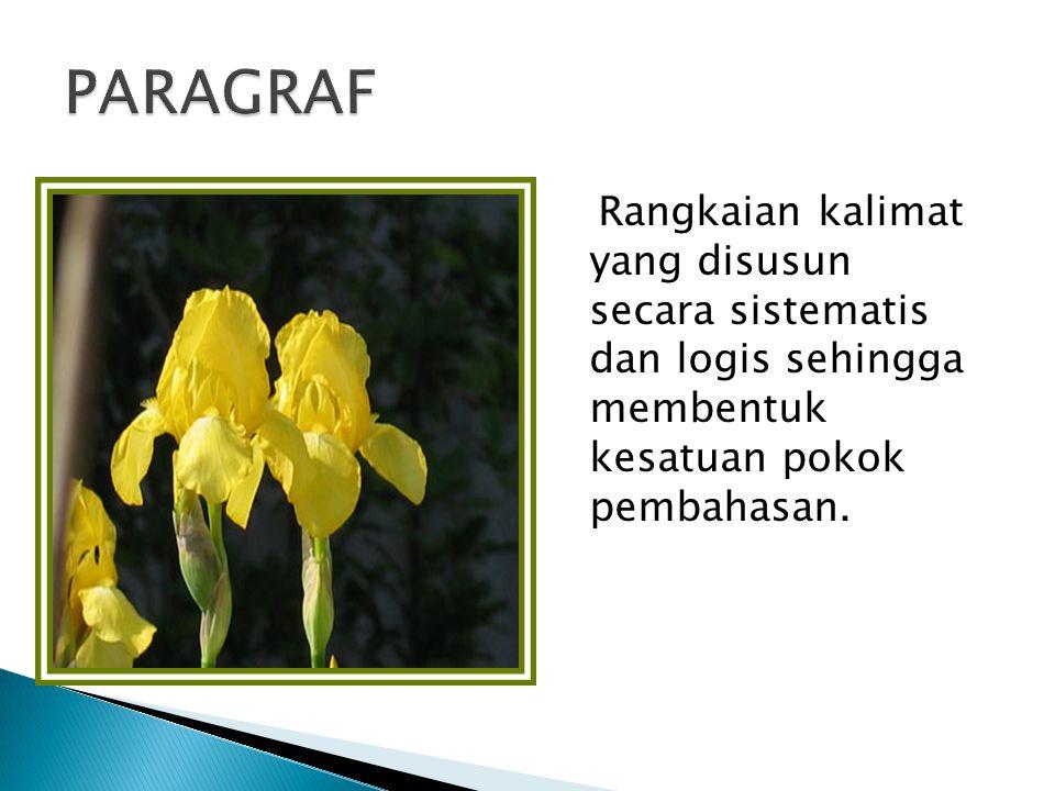 PARAGRAF Rangkaian kalimat yang disusun secara sistematis dan logis sehingga membentuk kesatuan pokok pembahasan.