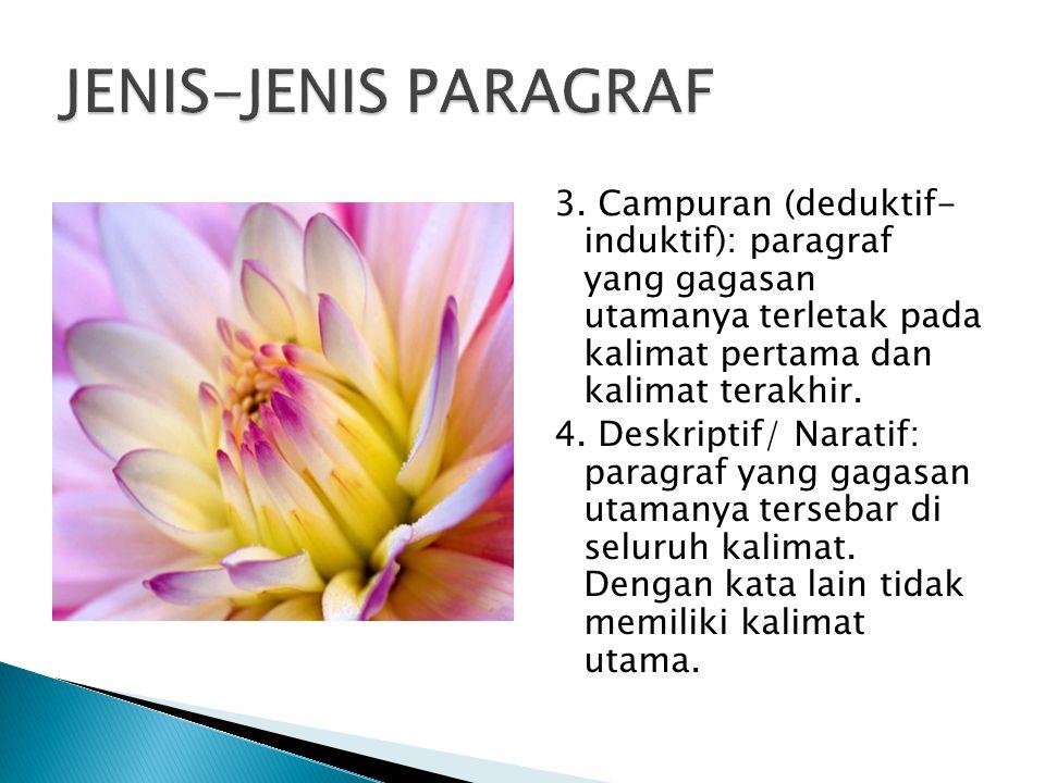 JENIS-JENIS PARAGRAF 3. Campuran (deduktif- induktif): paragraf yang gagasan utamanya terletak pada kalimat pertama dan kalimat terakhir.