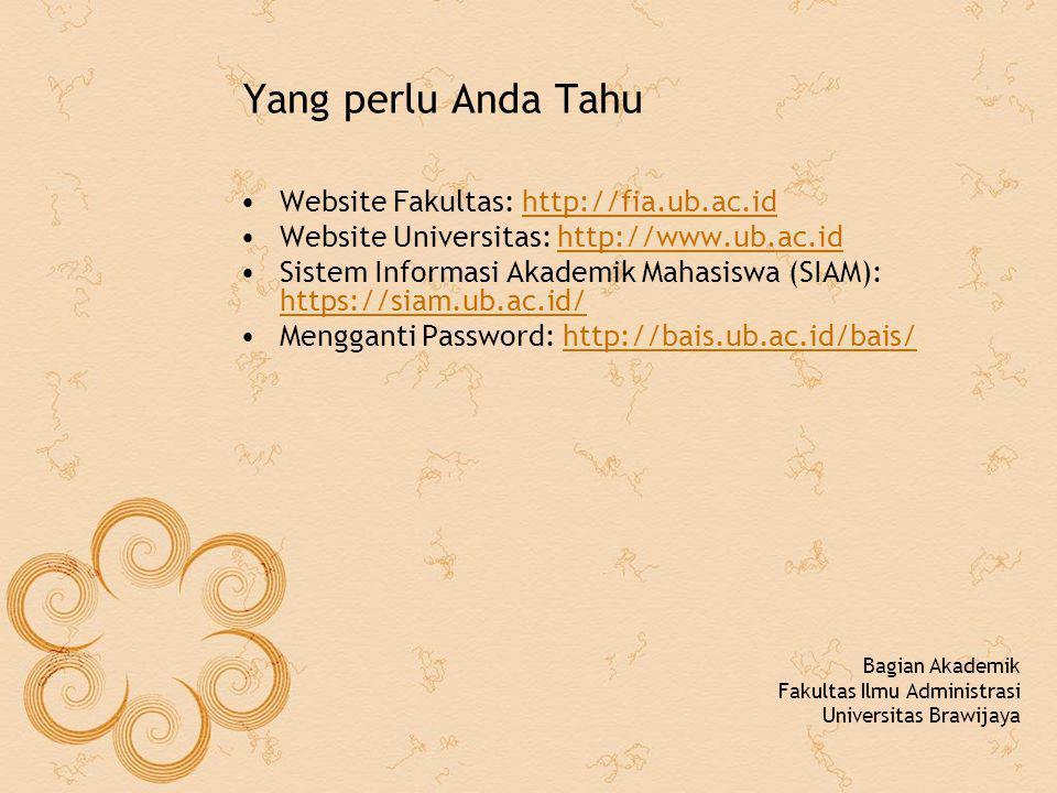 Yang perlu Anda Tahu Website Fakultas: http://fia.ub.ac.id
