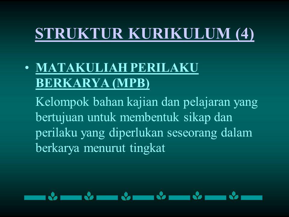 STRUKTUR KURIKULUM (4) MATAKULIAH PERILAKU BERKARYA (MPB)