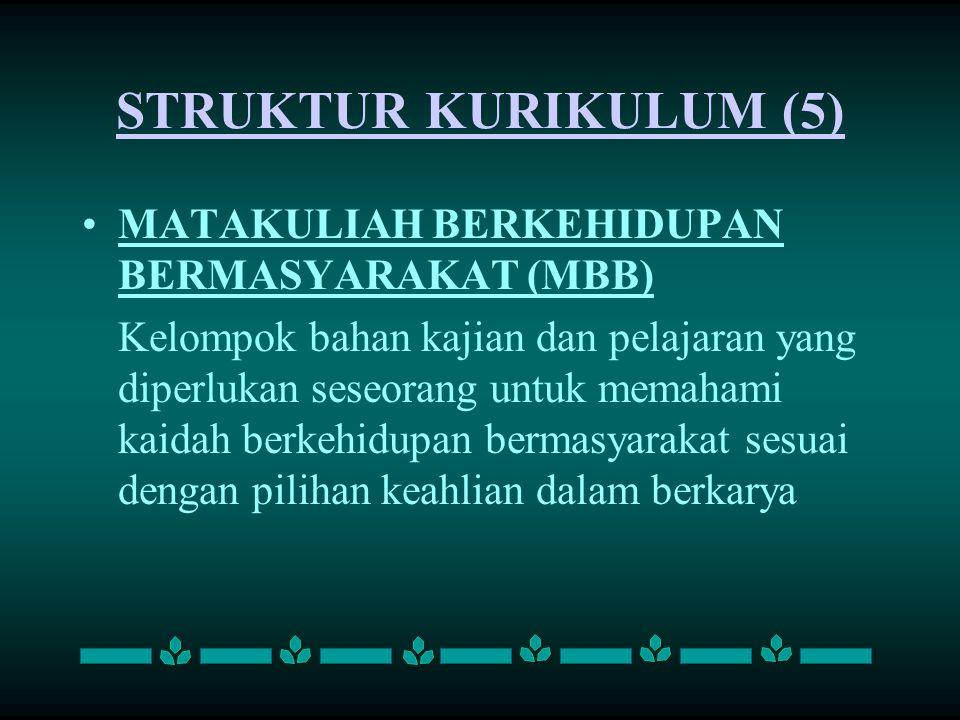STRUKTUR KURIKULUM (5) MATAKULIAH BERKEHIDUPAN BERMASYARAKAT (MBB)