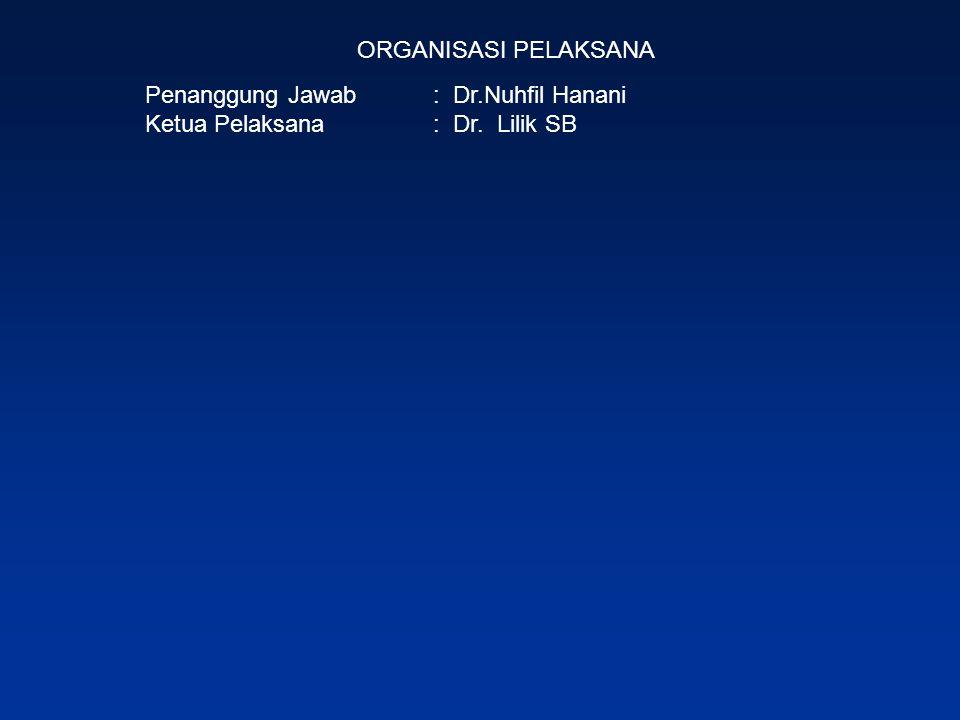 ORGANISASI PELAKSANA Penanggung Jawab : Dr.Nuhfil Hanani Ketua Pelaksana : Dr. Lilik SB