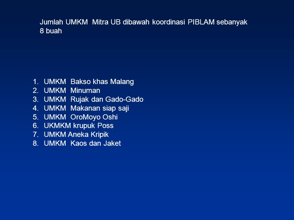 Jumlah UMKM Mitra UB dibawah koordinasi PIBLAM sebanyak 8 buah
