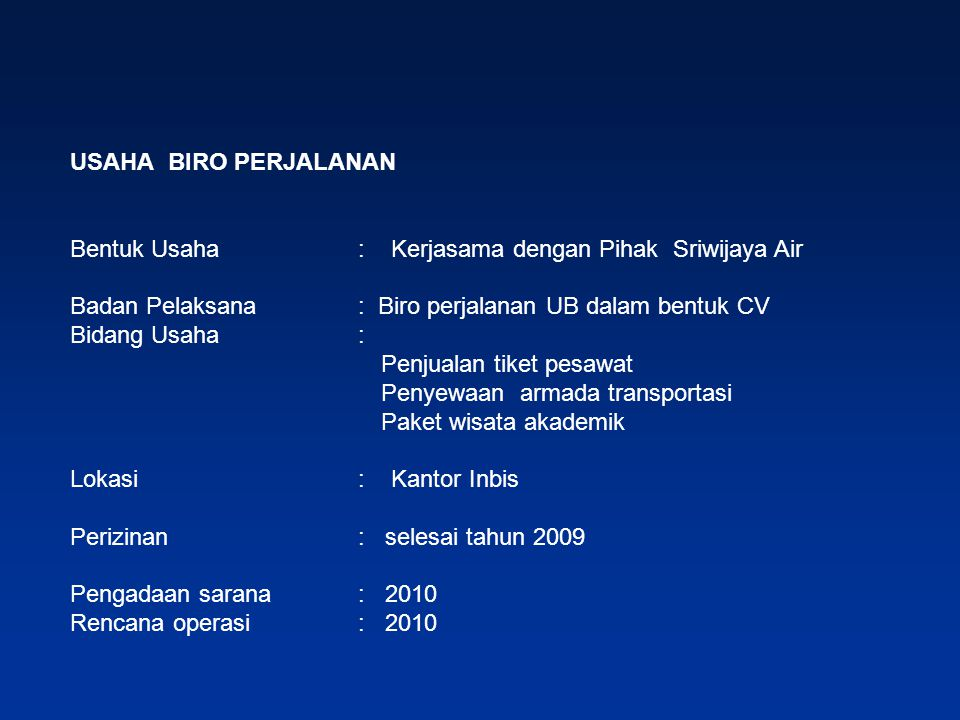 USAHA BIRO PERJALANAN Bentuk Usaha : Kerjasama dengan Pihak Sriwijaya Air. Badan Pelaksana : Biro perjalanan UB dalam bentuk CV.
