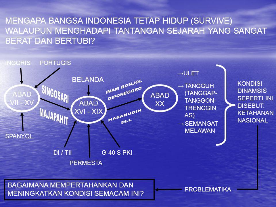 MENGAPA BANGSA INDONESIA TETAP HIDUP (SURVIVE) WALAUPUN MENGHADAPI TANTANGAN SEJARAH YANG SANGAT BERAT DAN BERTUBI