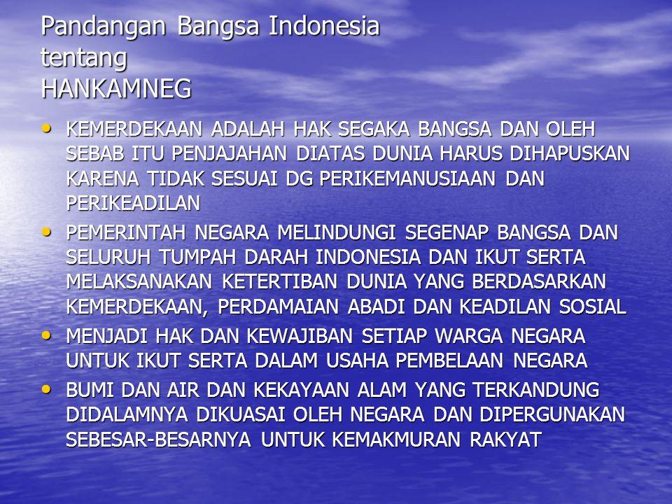Pandangan Bangsa Indonesia tentang HANKAMNEG