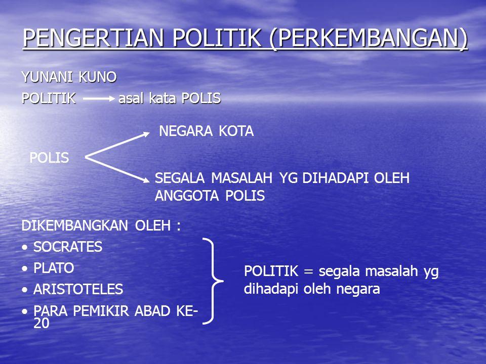 PENGERTIAN POLITIK (PERKEMBANGAN)