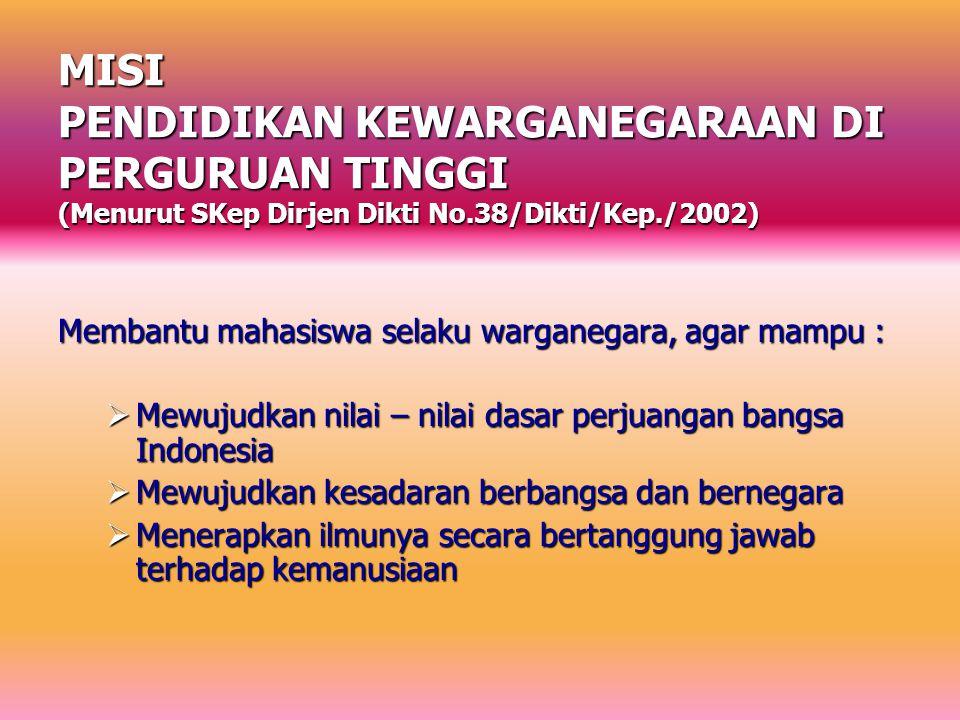 MISI PENDIDIKAN KEWARGANEGARAAN DI PERGURUAN TINGGI (Menurut SKep Dirjen Dikti No.38/Dikti/Kep./2002)