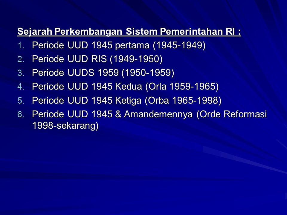Sejarah Perkembangan Sistem Pemerintahan RI :