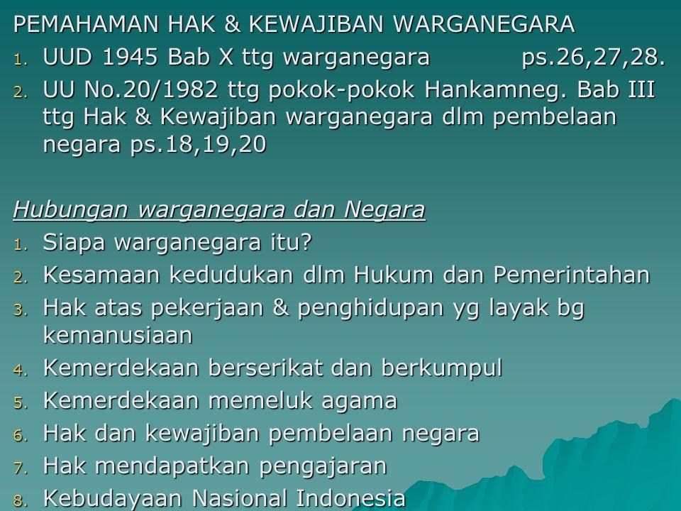 PEMAHAMAN HAK & KEWAJIBAN WARGANEGARA