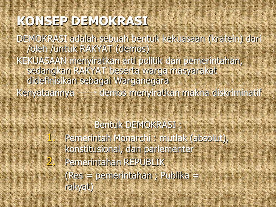 KONSEP DEMOKRASI DEMOKRASI adalah sebuah bentuk kekuasaan (kratein) dari /oleh /untuk RAKYAT (demos)