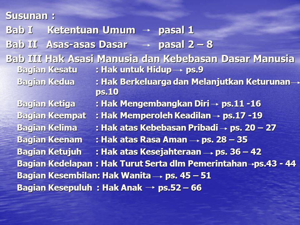 Bab I Ketentuan Umum pasal 1 Bab II Asas-asas Dasar pasal 2 – 8
