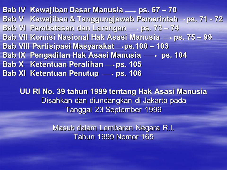 UU RI No. 39 tahun 1999 tentang Hak Asasi Manusia