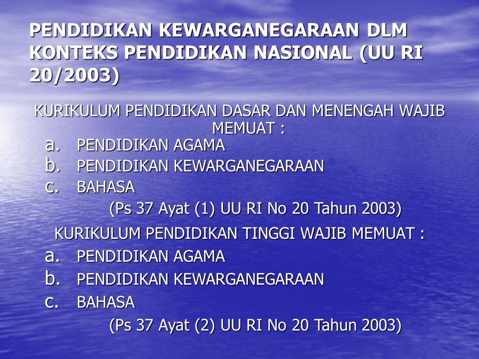 PENDIDIKAN KEWARGANEGARAAN DLM KONTEKS PENDIDIKAN NASIONAL (UU RI 20/2003)